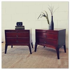 Two wonderfully charming Retro bedside pedestals a low design and two spacious drawers each! in the Cabinets category was sold for on 18 Sep at by Lifespace Homeware in Gauteng Pedestal, Bedside, 1970s, Drawers, Charmed, Retro, Table, Furniture, Design