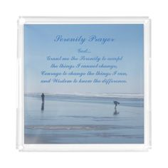 Serenity Prayer Ocean Beach Photo Acrylic Tray