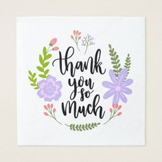 Purple Thank You Flower Leaves Watercolor Napkin
