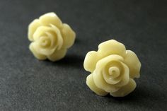 Beige Yellow Flower Earrings. Army Yellow Earrings. Gardenia Flower Earrings. Silver Stud Earrings. Yellow Rose Earrings. Handmade Jewelry. by StumblingOnSainthood from Stumbling On Sainthood. Find it now at http://ift.tt/29iQ3HT!