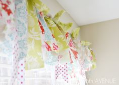 Fabric Scraps No Sew Window Treatment. This looks fun! I am so doing this in my craft room No Sew Valance, No Sew Curtains, Strip Curtains, Valance Tutorial, Pillow Tutorial, Window Curtains, Home Projects, Home Crafts, Sewing Projects