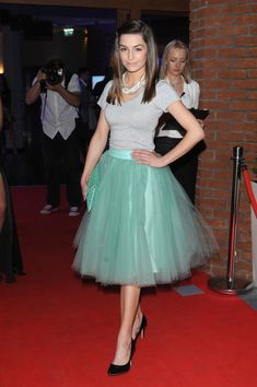 Bring some wonderful color to your outfit with this pastel green Ballerina skirt. Worn with low heels and pearls! Very glamourous. | Why Ballerina Skirt and the Biggest Trend of 2018