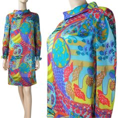 Vintage 1960's Dorothy Hubbs Psychedelic Chiffon Dress from The Vintage Genie at RubyLane.com