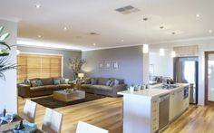 Open plan kitchen/dining room and living room area on #timber #floors