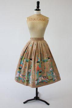 50s novelty border scenic print skirt houses town village