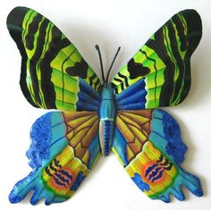 "Painted Metal Butterfly - Outdoor Decor Wall Hanging - 14""   -  See more tropical designs at Tropic Accents – www.tropicaccents.com"