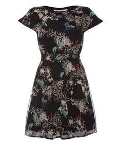 This Black Bird Cap-Sleeve Dress by Iska London is perfect! #zulilyfinds
