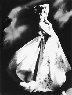 Silk Organdie, Embroidered and Printed, New York,Harper's Bazaar, circa 1956  Photographer: Lillian Bassman  Model: Barbara Mullen  Gown by Irene