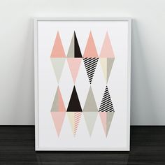 Triangles art print Pink geometric art Pink by ShopTempsModernes