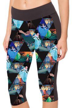 Pink Wind Women's Disney Villain Print Patckwork 3/4 Length Leggings Capris