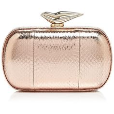 Diane von Furstenberg Clutch - Flirty Minaudiere Snake-Embossed ($398) ❤ liked on Polyvore featuring bags, handbags, clutches, borse, purses, metallic purse, diane von furstenberg, snake skin handbags, metallic clutches and python purse