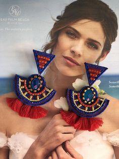 Ready to ship jean jacket hippie boho embellished colorful elephant denim jean jacket Tribal Earrings, Moon Earrings, Big Earrings, Rose Gold Earrings, Chandelier Earrings, Statement Earrings, Circle Earrings, Boho Hippie, Boho Gypsy