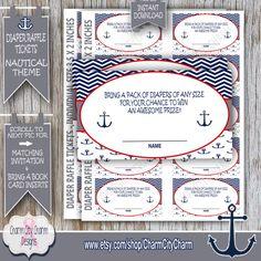 Nautical Diaper Raffle Card Diaper Raffle Ticket by charmcitycharm
