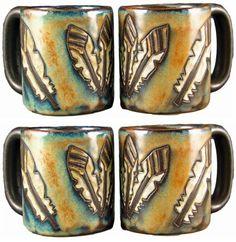 Arrow Feathers Etched Stoneware Mugs by Mara pc + Mug Tree) Coffee Set, Coffee Cups, Arrow Feather, Mug Tree, Southwestern Decorating, Kitchen Dishes, Stoneware Mugs, The Ranch, Mugs Set