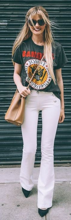 #spring #street #fashion #outfitideas | Green Graphic Tee + White Flares | Barefoot Blonde                                                                             Source