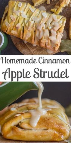 Homemade Cinnamon Apple Strudel, an easy made from scratch dough and filling recipe makes this a delicious anytime dessert. Apple Strudel Recipe From Scratch, Strudel Dough Recipe, Apple Turnover Recipe, Apple Pie Recipe Easy, Turnover Recipes, Homemade Apple Pies, Apple Recipes, German Apple Strudel Recipe, Easy Apple Desserts