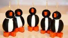 Penguin Appetizers - Randy made these one time for one of our wine tasting parti Wine Tasting Party, Wine Parties, Appetizers For Party, Appetizer Recipes, Fun Recipes, Party Snacks, Holiday Recipes, Animal Shaped Foods, Cute Food