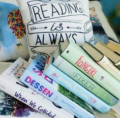 book stack + pillow by readsleepfangirl