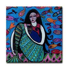 Mermaid Art Tile - Fantasy Fish - Mexican Folk Art Ceramic Coaster Gift