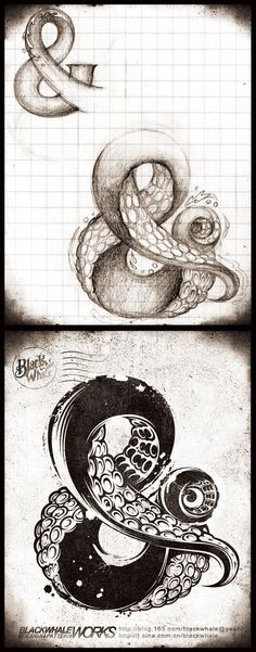 Collaborative Class Project - Each student reinvents an alphabet letter or two as some kind of illusionary surreal object - suggested by the shape of the letter - image inspiration: & octopus by Vane Blackwhale, via Behance // Typography Typography Inspiration, Graphic Design Inspiration, Typography Design, Typography Alphabet, Tattoo Inspiration, Poster Design, Art Design, Plakat Design, Drawn Art