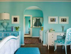 This room focuses on the color blue. A monochromatic room is easy on the eyes and calming.