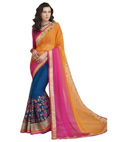 Buy Now Orange- Royal Blue Embroidery Work Chiffon-Georgette Half-Half Fancy Saree only at Lalgulal.com. Price :- 2,552/- inr. To ‪#‎Order‬ :- http://goo.gl/xIyLoM To Order you Call or ‪#‎Whatsapp‬ us on +91-95121-50402 COD & Free Shipping Available only in India.