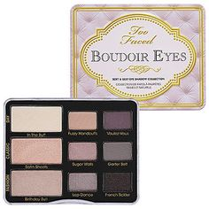Too Faced Budoir Eyes- a bit soft, but lovely cool neutral eye shadow palette. My second favorite LSu eye palette.