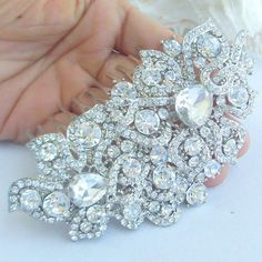 VanessaJewel Bridal Hair Accessories 4.13 Inch Silver-tone Rhinestone Crystal Flower Hair Comb Bridal Hair Comb Wedding Headpiece HSE05093C1