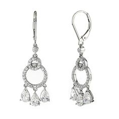 These breathtaking chandelier drop earrings are made of sterling silver and are set with round cut cubic zirconia stone. Lever back for pierced ears. Stone weight is approximately 2.97 carats.