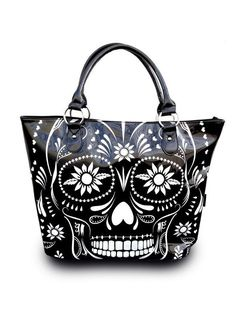"""Day Of The Dead"" Tote Bag by Jawbreaker (Black) #inkedshop #tote #skull #design #tattoo #bag #purse #blackandwhite"
