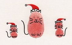 fingerprint christmas cats for christmas cards Diy Christmas Cards, Christmas Crafts For Kids, Christmas Cats, Homemade Christmas, Holiday Crafts, Fingerprint Cards, Navidad Diy, Footprint Art, Handprint Art