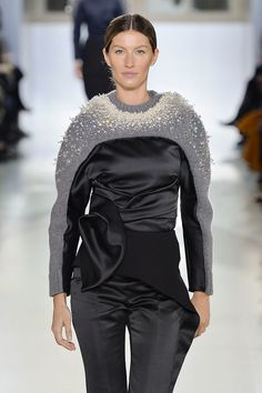 Balenciaga Fall 2014 I would have to make changes to  the shoulder before wearing this or use a thinner yarn and add seams for a better fit in the shoulder area.
