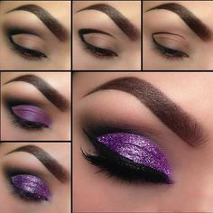 Glittery Purple Look with Winged Eyeliner