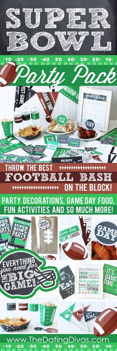 Super Bowl Party Pack - invites, decor, food ideas and games!