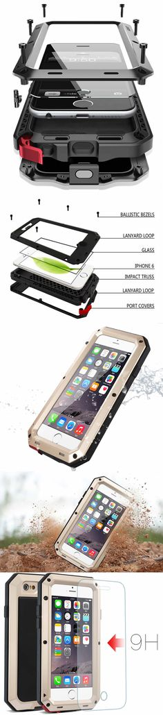 Aluminum Alloy Metal Glass Protection Waterproof Shockproof iPhone 7/6 Plus Case Cover