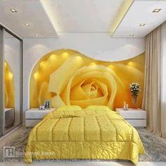 #Yellow #flower #Bedroom design