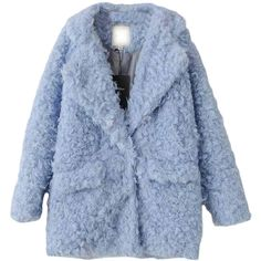 Blue Pretty Laides Turndown Collar Plain Warm Fur Coat (710 SEK) ❤ liked on Polyvore featuring outerwear, coats, jackets, blue, fur-collar coat, blue coat, blue fur coat, collar coat and fur coat