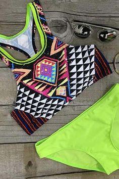 Women's Fashion Tankini Two Piece Print Beach Swimwear - OASAP.com