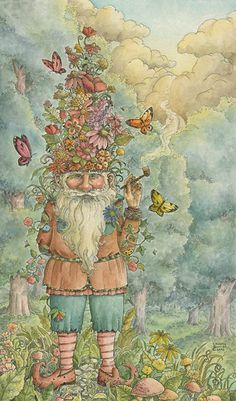 Fairy and fantasy art images, fairy pictures & drawings, flower and butterfly illustrations from Fairies World. Fairies World, Fairy & Fantasy Art Gallery - Christy Babrick/The Gnome's Garden© Troll, Kobold, Art Vintage, Illustration Art, Illustrations, Fantasy Kunst, Gnome Garden, Fairy Art, Magical Creatures