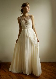 Josephine lace and silk chiffon gown - etsy exclusive