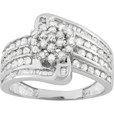 1 Carat T.W. Diamond Sterling Silver Swirl Ring ($228) ❤ liked on Polyvore featuring jewelry, rings, white, round diamond ring, white ring, sterling silver rings, sterling silver diamond rings and baguette ring