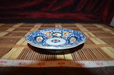 "Asian Porcelain Footed Blue Orange Gold Floral Small Plate 4 1/8"" Marked"