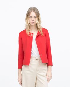 SHORT CREPE JACKET from Zara in Red, $69.90 (size XS or S..) -- find something similar to this that is more fitted, less boxy [May 2015]