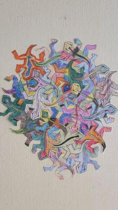 Firben, farvet og lamineret, derefter samlet som et puslespil