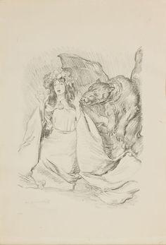 Przestraszona księżniczka Józefa Mehoffera litografia przed 1924