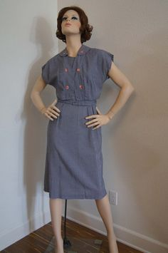 Vintage 50s Dress / 1950s Blue Gingham Cotton by snapitupvintage, $85.00