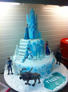 "Frozen birthday cake - 7"" chequerboard sponge on 10"" blue ombré sponge. Handcrafted steps, pool and castle, plastic figurines."