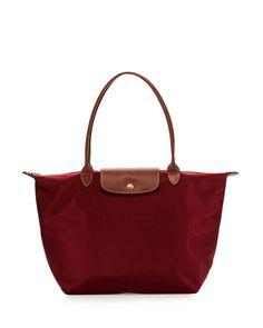 Le Pliage Large Shoulder Tote Bag, Garnet
