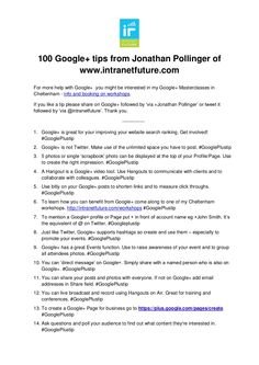 100-google-tips by Intranet Future via Slideshare