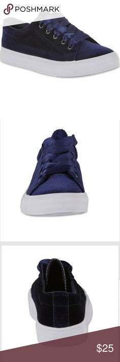 *NWT* NAVY BLUE VELVET SNEAKERS First pictures are straight from the website! These are Navy Blue colored lace-up velvet sneakers. Size 7.Never worn and has tags attached. Super cute! Has a white sole and bottom. ASK ME ANYTHING! OPEN TO OFFERS AND BUNDLING! I SHIP SAME DAY! *I am selling items to help my sister pay for medical expenses. Please be fair* Joe Boxer Shoes Sneakers